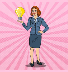 pop art business woman with creative ide vector image