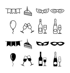 birthday party icons collection - party silhouette vector image