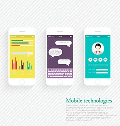 Collection of Mobile Phones with User Interface vector image