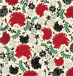floral seamless pattern with red and black element vector image vector image