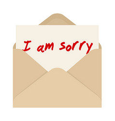 I am sorry card in brown envelope The letter vector image