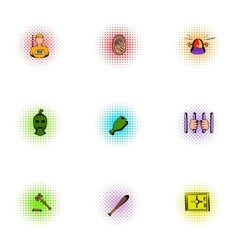 Lawlessness icons set pop-art style vector image vector image