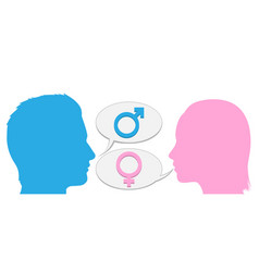 man and woman conversation silhouette vector image