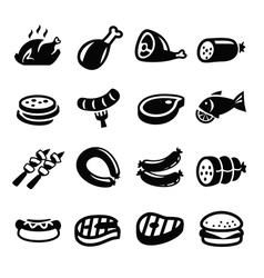 meat and sausage icons vector image