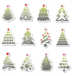 set of new year tree vector image