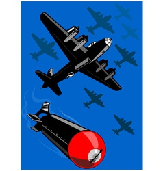 World War Two Bomber Airplanes Drop Bomb Retro vector image vector image
