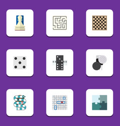 flat icon games set of multiplayer pawn sea vector image vector image