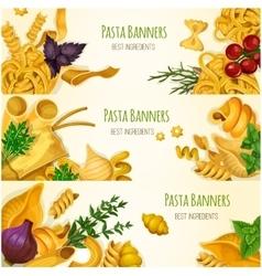 Italian pasta macaroni and spaghetti banner set vector image vector image