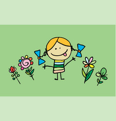 little cartoon girl with flowers vector image vector image