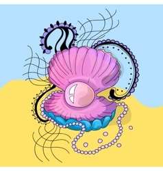 Marine cockleshell with a pearl vector image vector image
