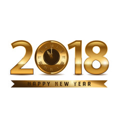 2018 new year golden letters with clock on white vector