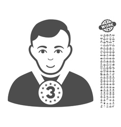 3rd Prizer Sportsman Icon With Bonus vector image