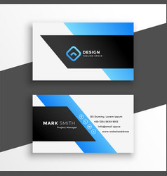 abstract blue geometric business card design vector image