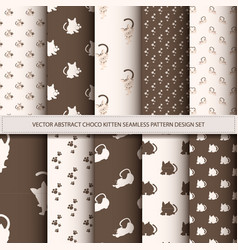 Abstract choco kitten seamless pattern set vector