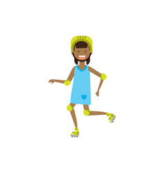 African girl kid wearing knee and elbow pads on vector