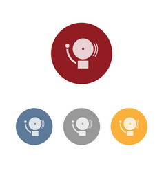 Alarm icon on four colored circles and a white vector