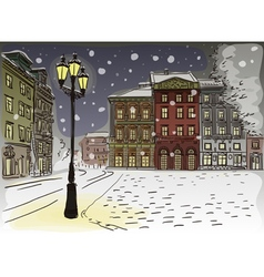 Antique European street Winter Night city landscap vector