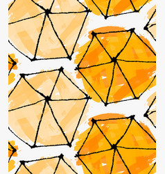 Artistic color brushed orange hexagons vector