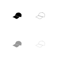 baseball cap black and grey set icon vector image