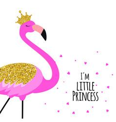 beautiful little princess pink flamingo in golden vector image