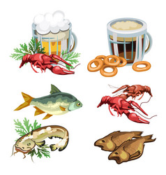 beer in mug with snacks crabs fish bagels vector image