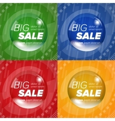 Big sale square stickers in a circle bubble vector
