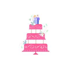 Big wedding cake flat vector