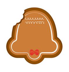 Bitten christmas bell gingerbread vector