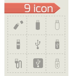 Black usb icon set vector