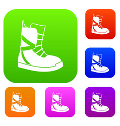 boot for snowboarding set collection vector image