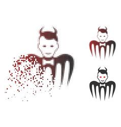 broken dot halftone gentleman spectre devil icon vector image
