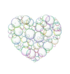 Bubbles soap in the form of hearts vector