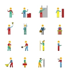 Builders Flat Icon Set vector