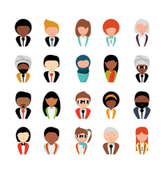 Bundle with business people icons vector