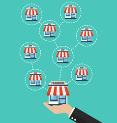 Businessman hand with franchise business system vector