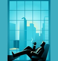 businessman smoking cigar near window with vector image