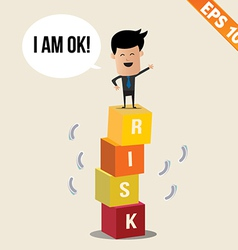 Cartoon Businessman stand on risk block vector image