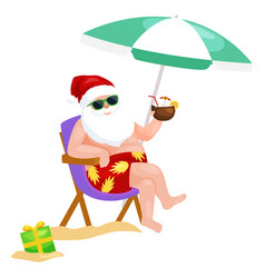 Cartoon santa claus in swimsuit sitting in chair vector