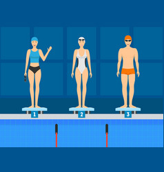 cartoon swimmer on the starting line concept vector image