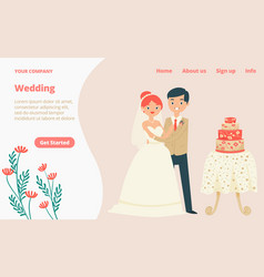 character lovely couple traditional wedding vector image