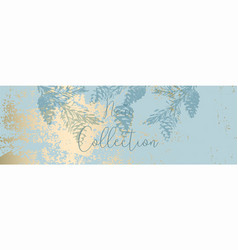 Chic winter pastel gold print pine braches botany vector