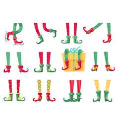 christmas elf feet santa claus helpers cute vector image