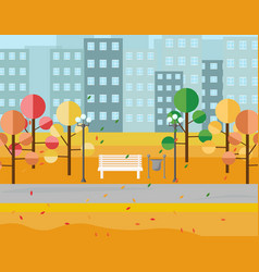 city park view autumn seasons background vector image