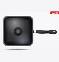 classic metal square fry pan vector image