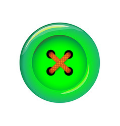 clothes button icon art and crafts in green vector image