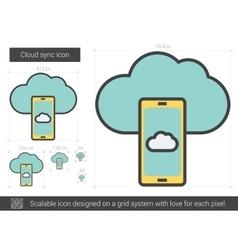 Cloud sync line icon vector