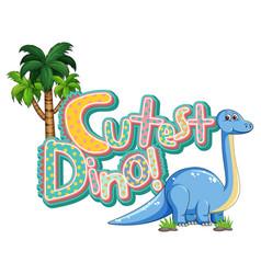 Cute brachiosaurus dinosaur cartoon character vector
