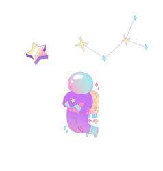 Cute cosmonaut stars vector
