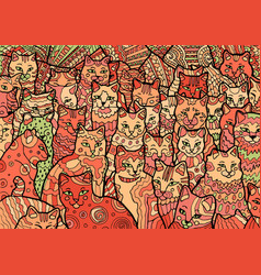 cyprus cats on doodle background vector image