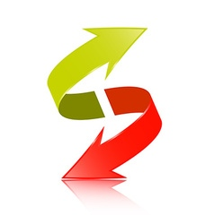 Double Arrow 3D Green and Red Symbol vector